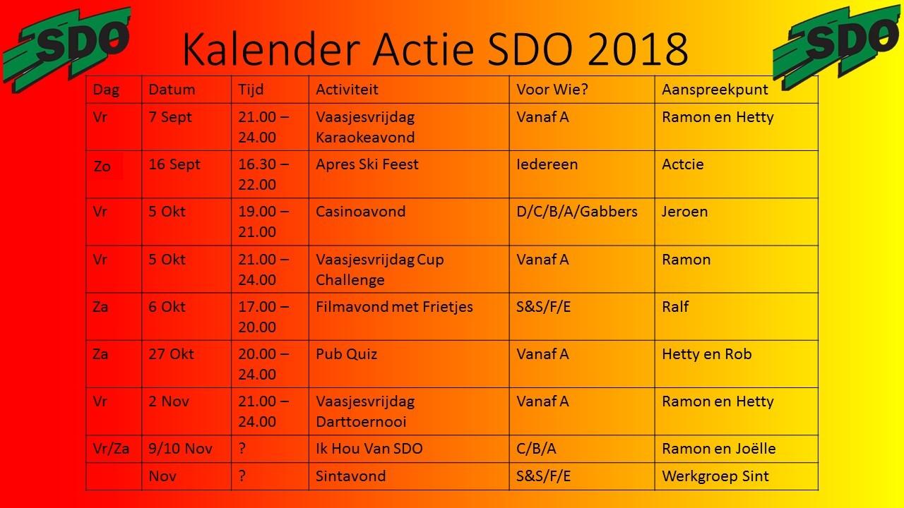Kalender Actie SDO 2018
